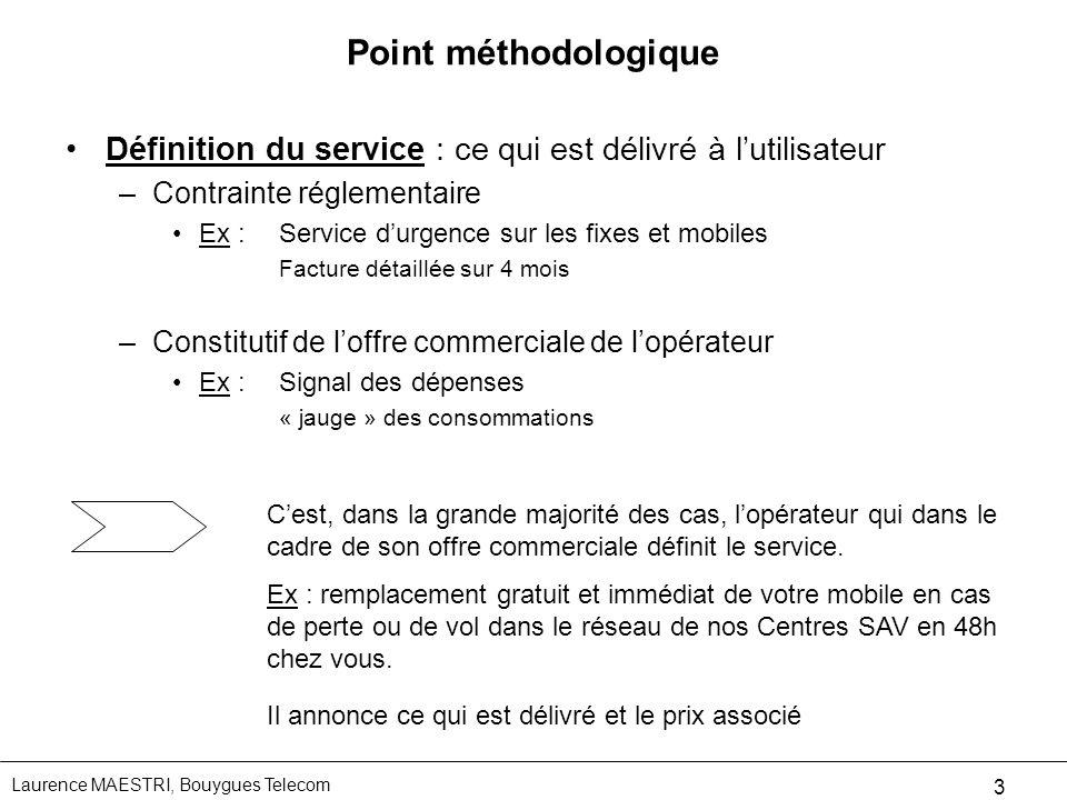 Point méthodologique Définition du service : ce qui est délivré à l'utilisateur. Contrainte réglementaire.