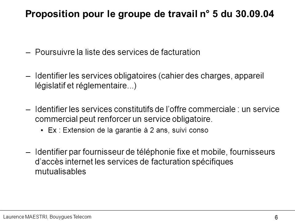 Proposition pour le groupe de travail n° 5 du 30.09.04
