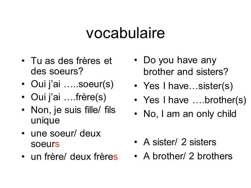 vocabulaire Do you have any brother and sisters Yes I have…sister(s)