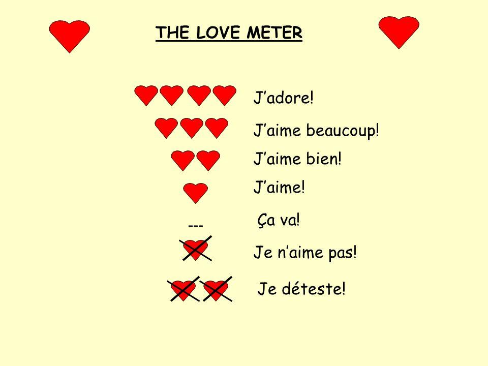 THE LOVE METER J'adore! J'aime beaucoup! J'aime bien! J'aime! Ça va! --- Je n'aime pas! Je déteste!