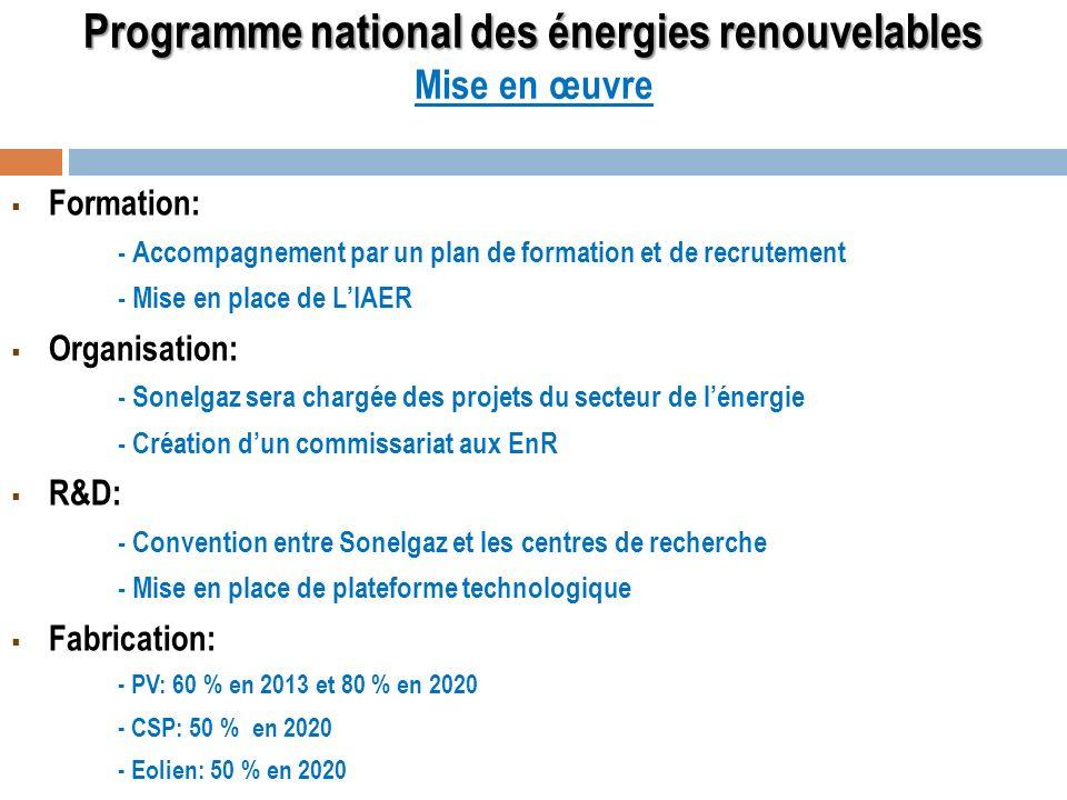Programme national des énergies renouvelables Mise en œuvre