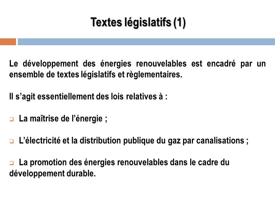 Textes législatifs (1)Le développement des énergies renouvelables est encadré par un ensemble de textes législatifs et règlementaires.