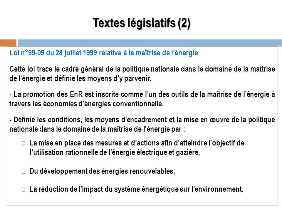 Textes législatifs (2) Loi n°99-09 du 28 juillet 1999 relative à la maîtrise de l'énergie.