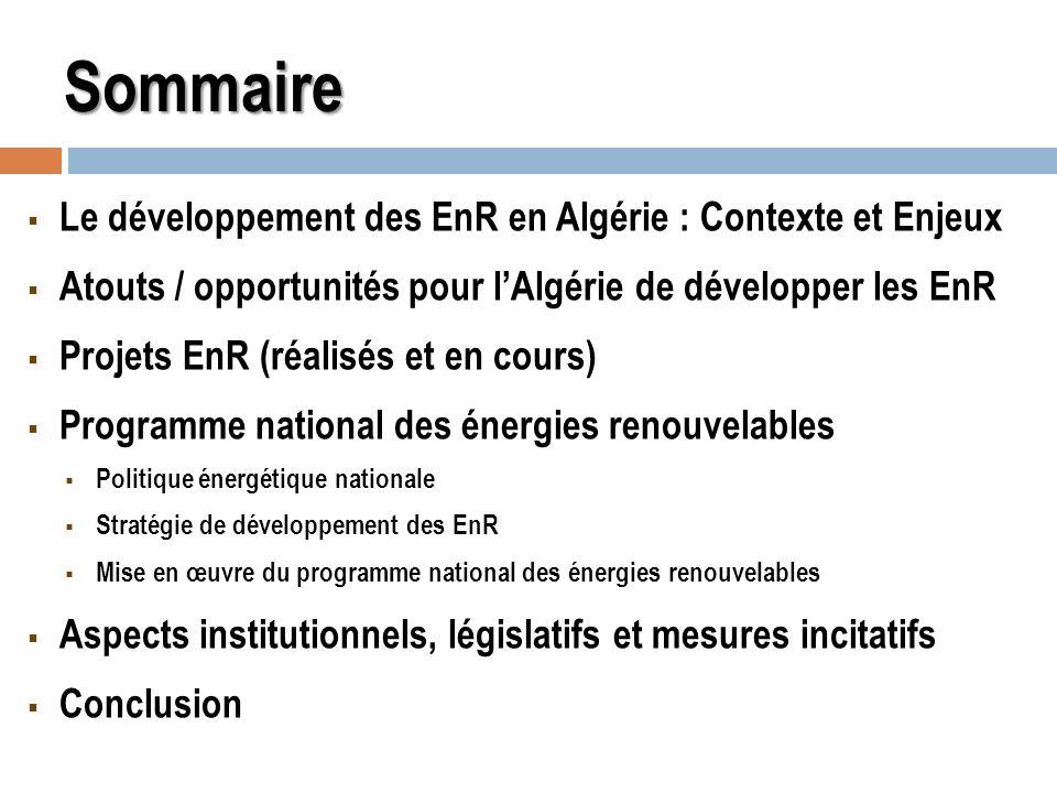 Sommaire Le développement des EnR en Algérie : Contexte et Enjeux