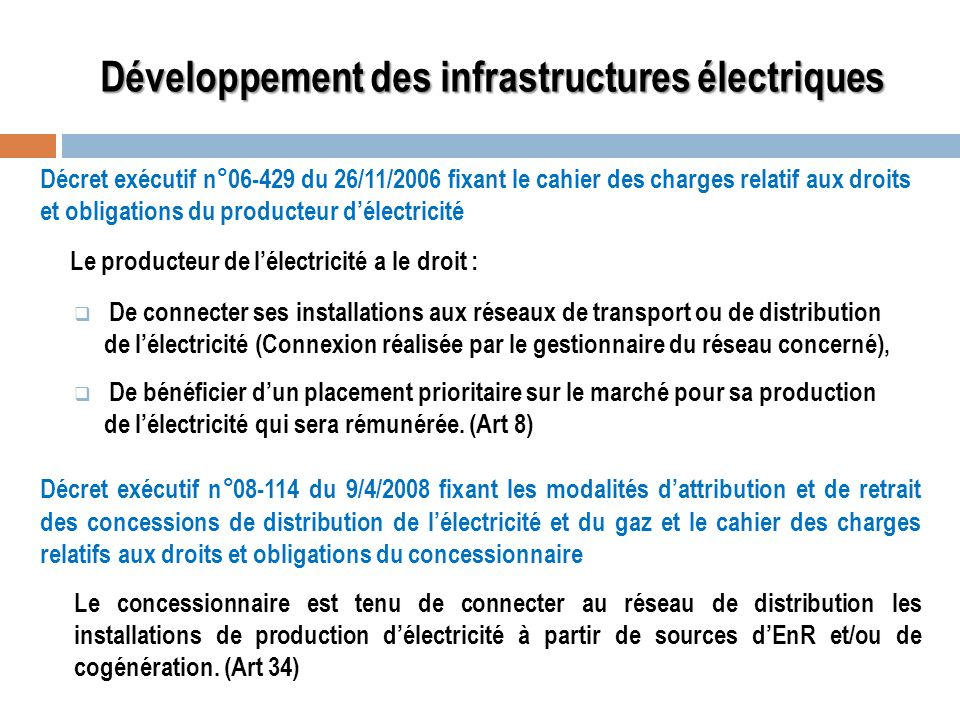 Développement des infrastructures électriques
