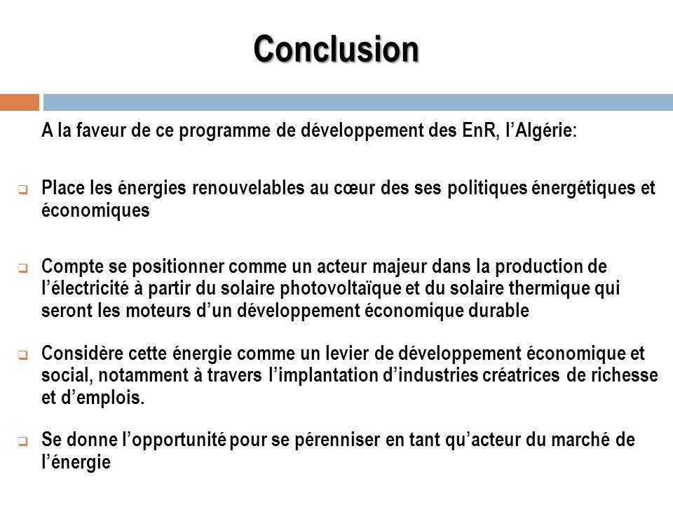Conclusion A la faveur de ce programme de développement des EnR, l'Algérie: