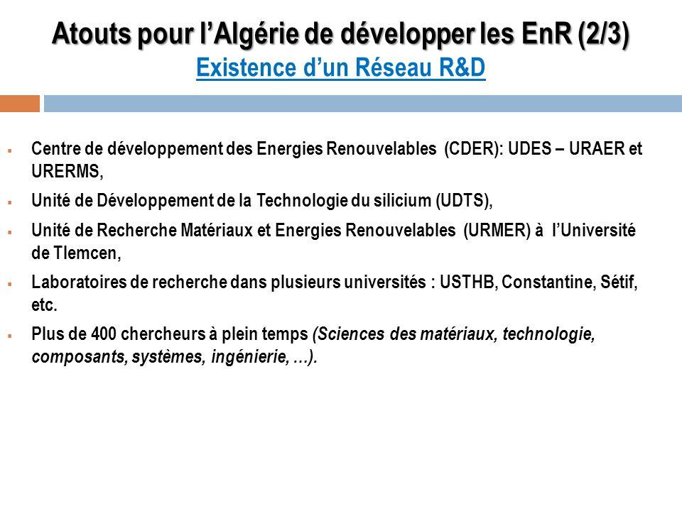 Atouts pour l'Algérie de développer les EnR (2/3) Existence d'un Réseau R&D