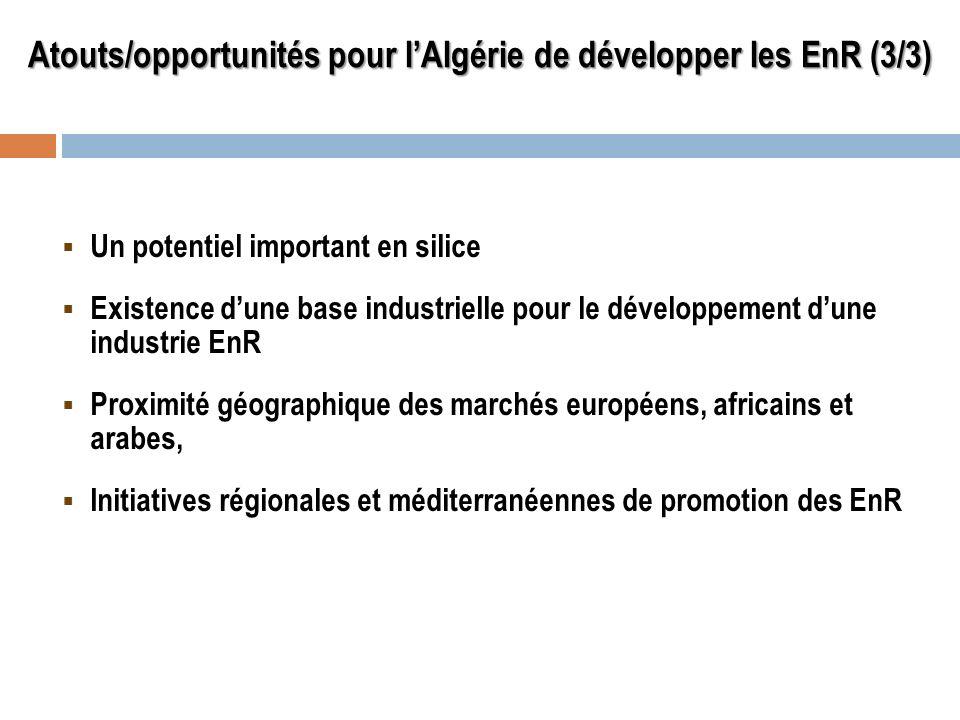Atouts/opportunités pour l'Algérie de développer les EnR (3/3)