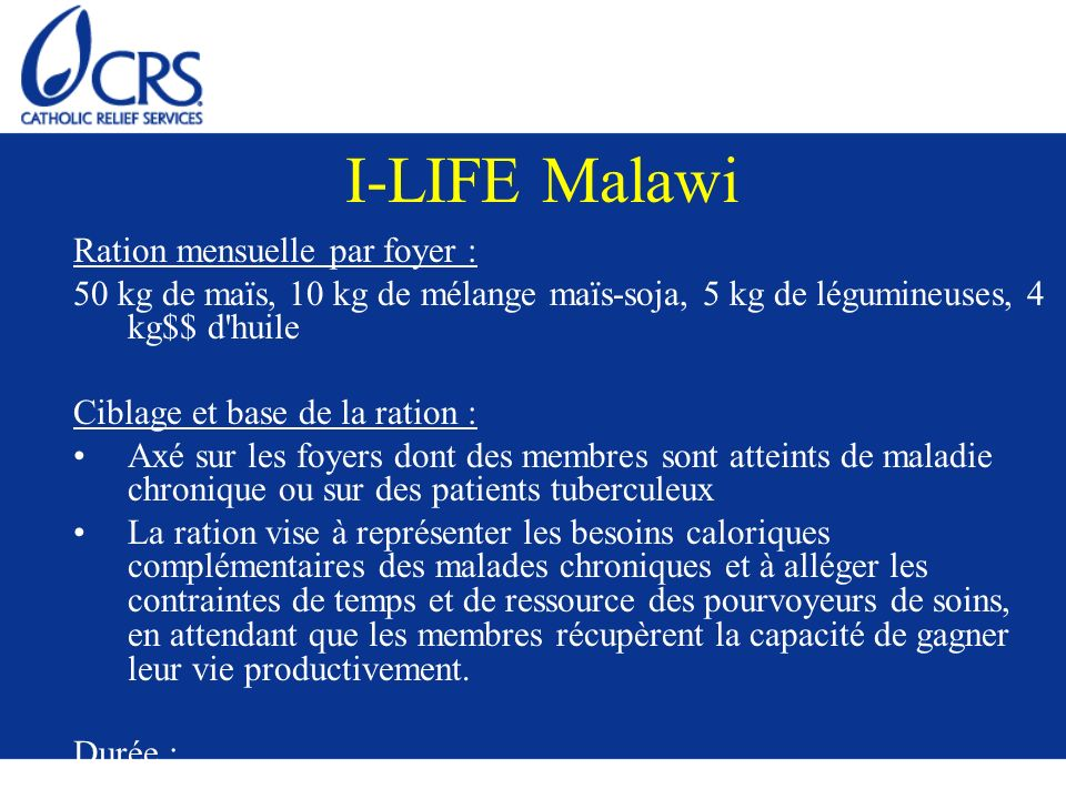I-LIFE Malawi Ration mensuelle par foyer :