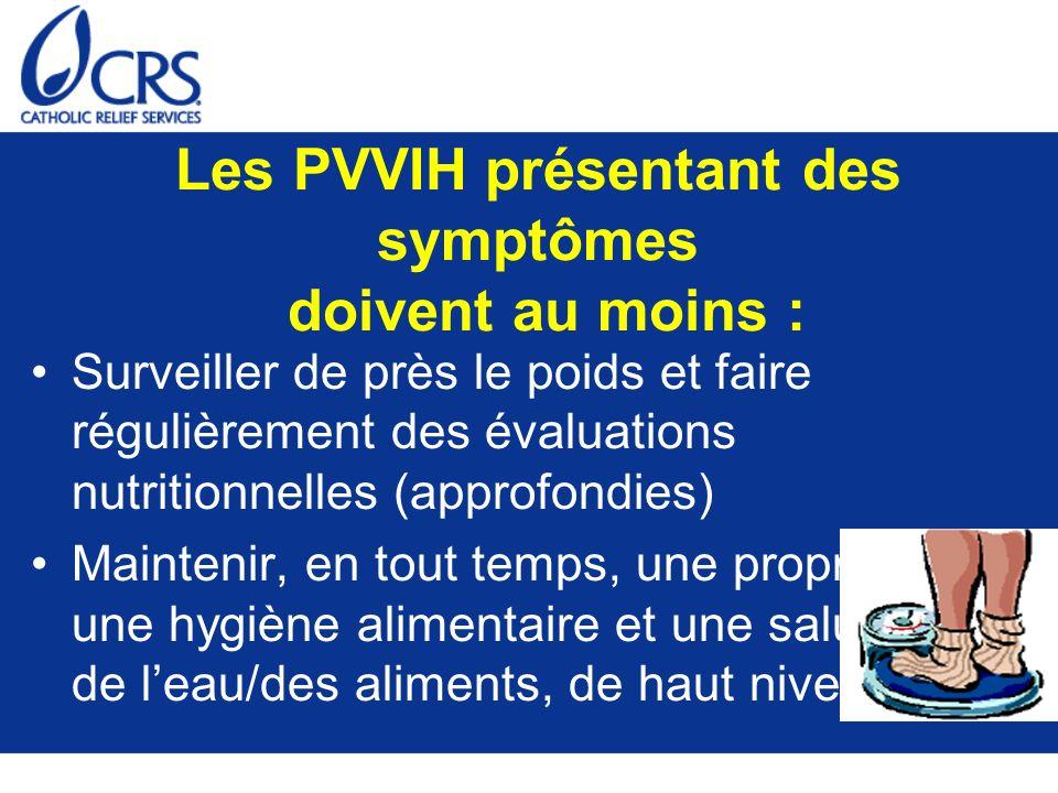 Les PVVIH présentant des symptômes doivent au moins :