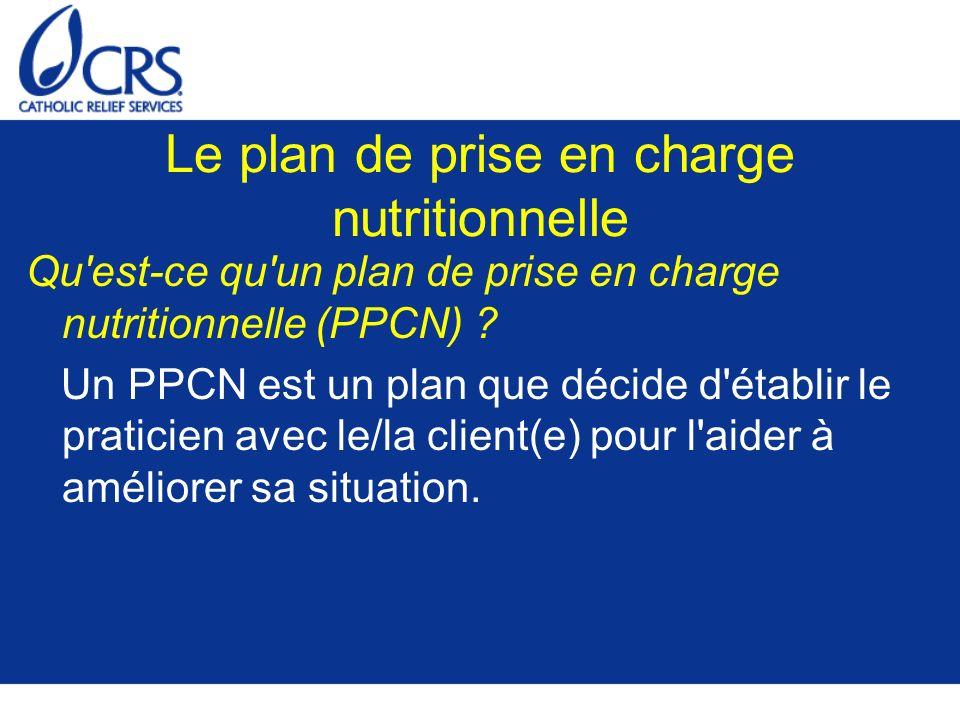 Le plan de prise en charge nutritionnelle
