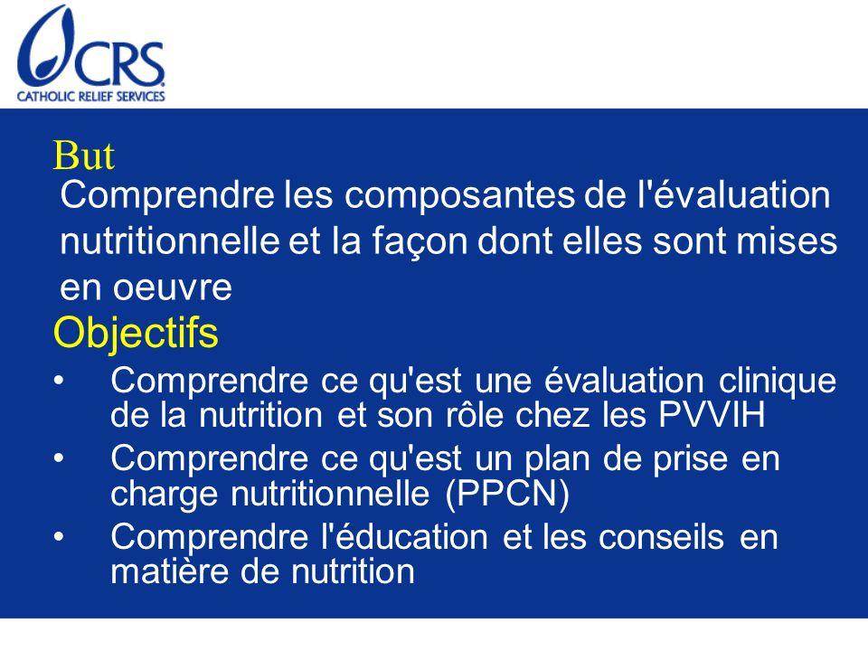ButComprendre les composantes de l évaluation nutritionnelle et la façon dont elles sont mises en oeuvre.