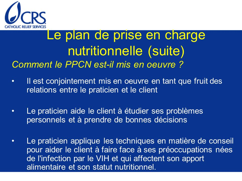 Le plan de prise en charge nutritionnelle (suite)