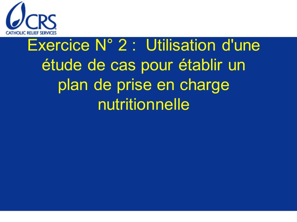 Exercice N° 2 : Utilisation d une étude de cas pour établir un plan de prise en charge nutritionnelle