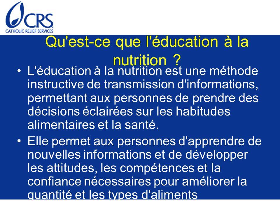 Qu est-ce que l éducation à la nutrition
