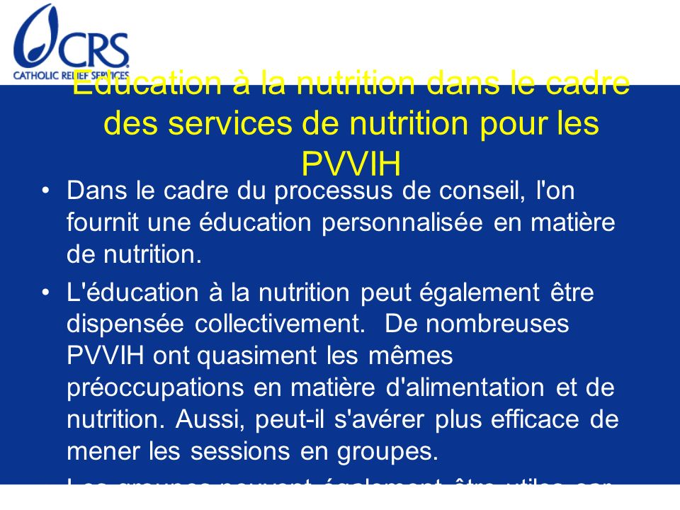Education à la nutrition dans le cadre des services de nutrition pour les PVVIH