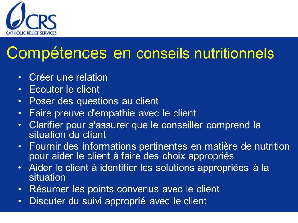 Compétences en conseils nutritionnels