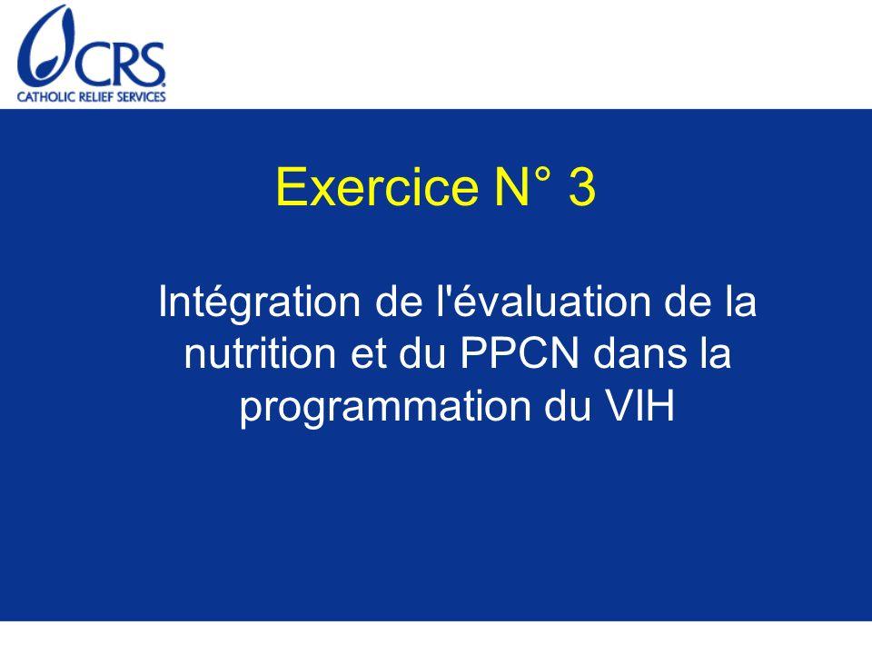 Exercice N° 3Intégration de l évaluation de la nutrition et du PPCN dans la programmation du VIH.