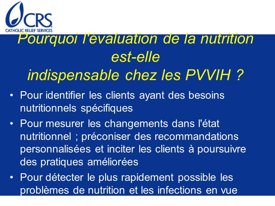 Pourquoi l évaluation de la nutrition est-elle indispensable chez les PVVIH