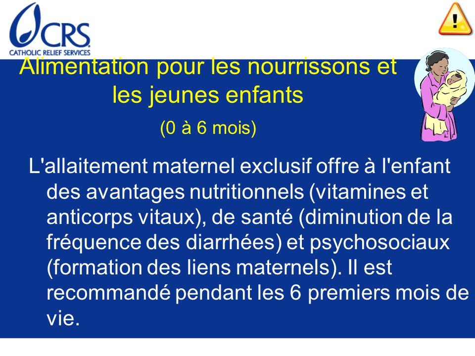 Alimentation pour les nourrissons et les jeunes enfants (0 à 6 mois)