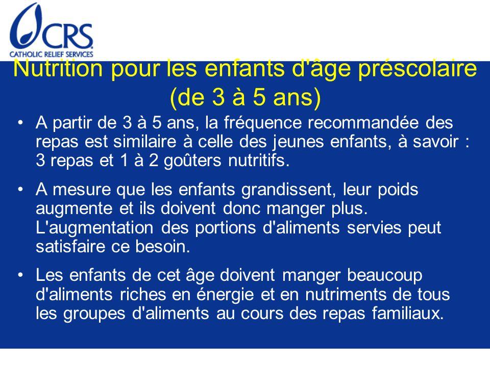 Nutrition pour les enfants d âge préscolaire (de 3 à 5 ans)