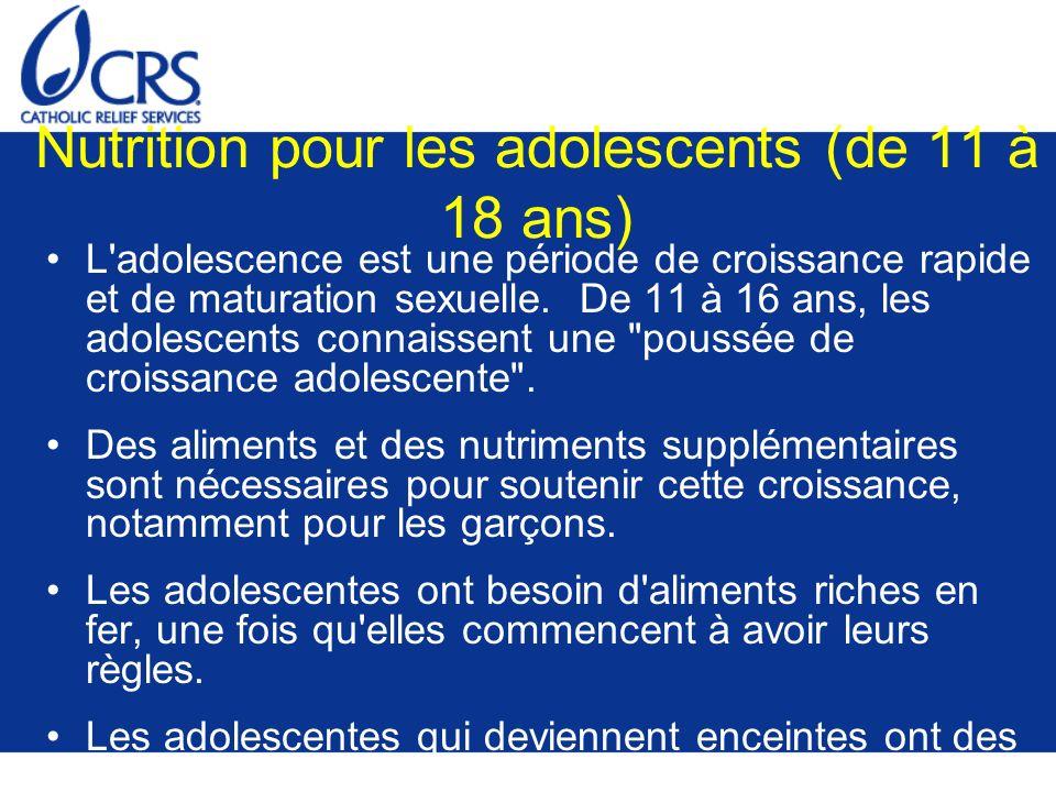 Nutrition pour les adolescents (de 11 à 18 ans)