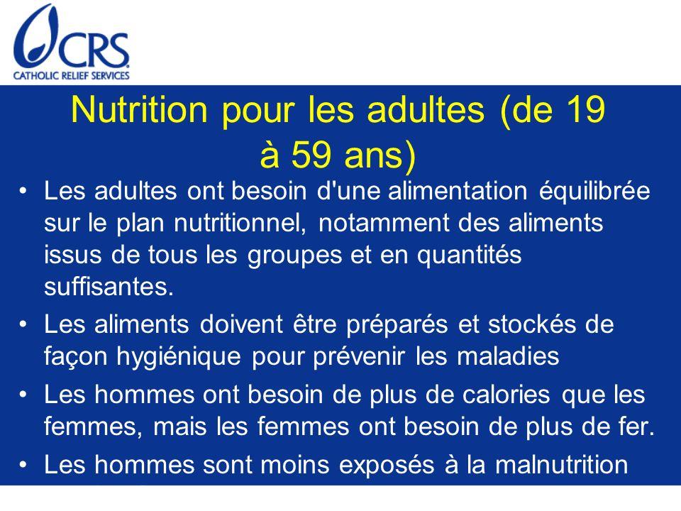 Nutrition pour les adultes (de 19 à 59 ans)