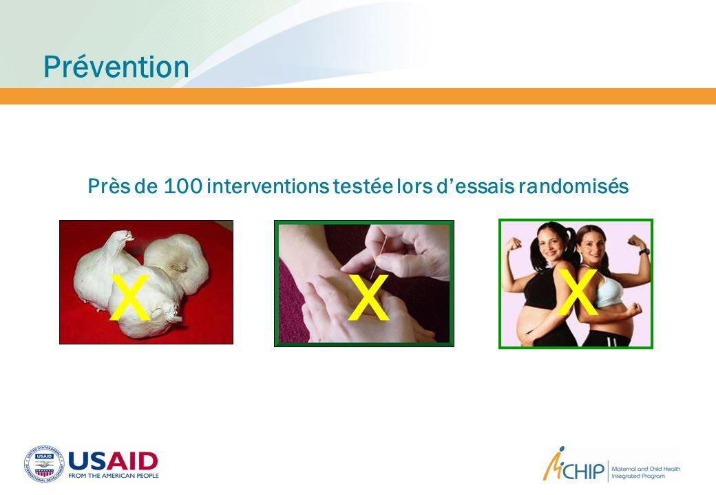 Près de 100 interventions testée lors d'essais randomisés