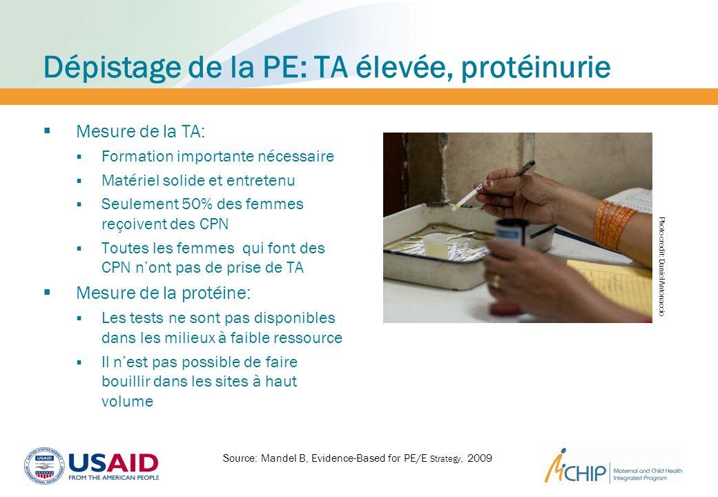 Dépistage de la PE: TA élevée, protéinurie