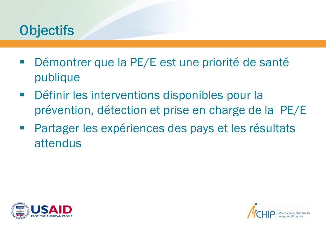 Objectifs Démontrer que la PE/E est une priorité de santé publique