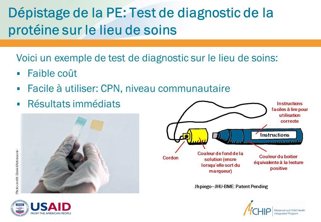 Dépistage de la PE: Test de diagnostic de la protéine sur le lieu de soins