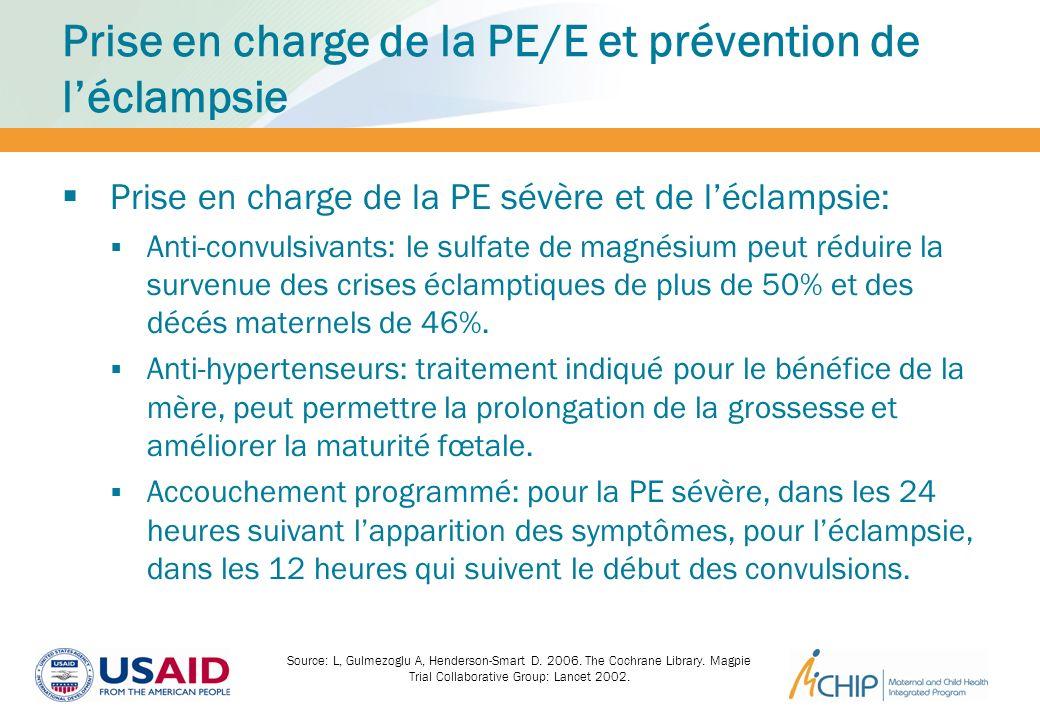 Prise en charge de la PE/E et prévention de l'éclampsie