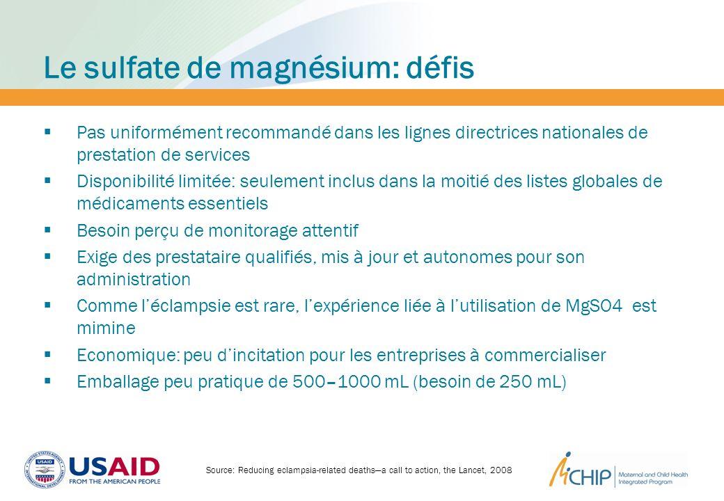 Le sulfate de magnésium: défis