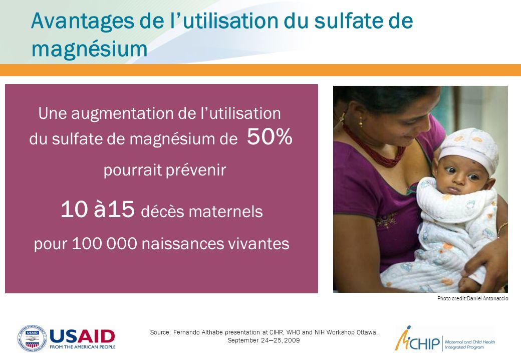 pourrait prévenir 10 à15 décès maternels