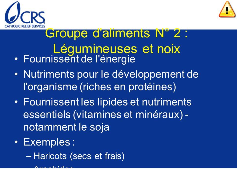 Groupe d aliments N° 2 : Légumineuses et noix