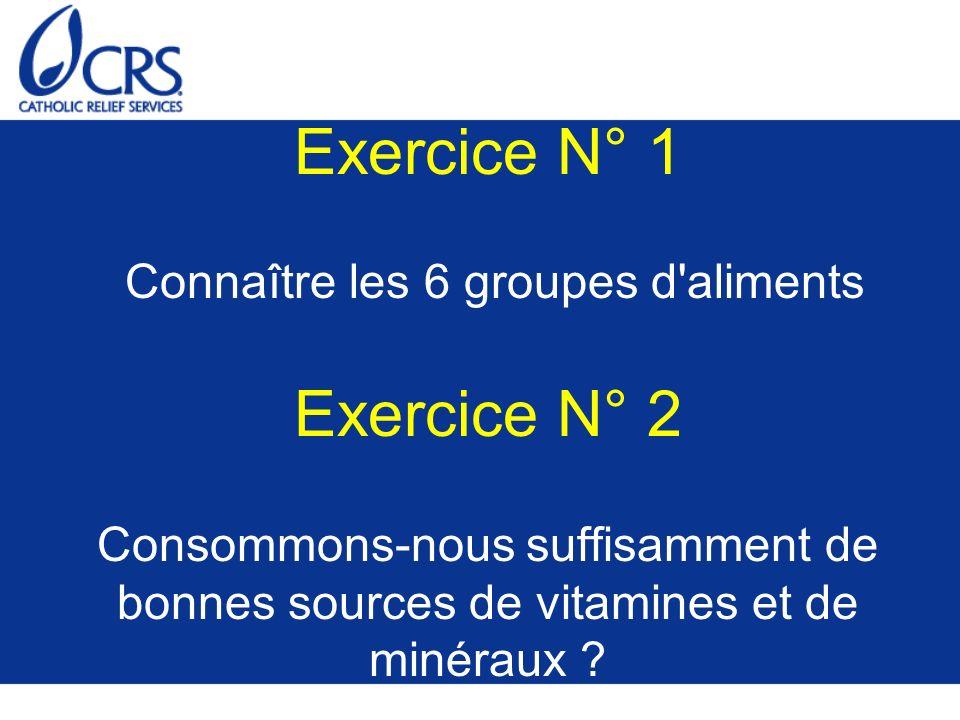 Exercice N° 1 Connaître les 6 groupes d aliments Exercice N° 2 Consommons-nous suffisamment de bonnes sources de vitamines et de minéraux
