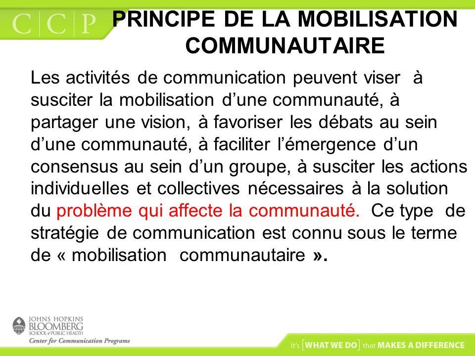 PRINCIPE DE LA MOBILISATION COMMUNAUTAIRE