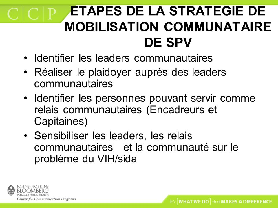 ETAPES DE LA STRATEGIE DE MOBILISATION COMMUNATAIRE DE SPV