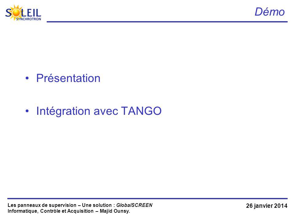 Intégration avec TANGO