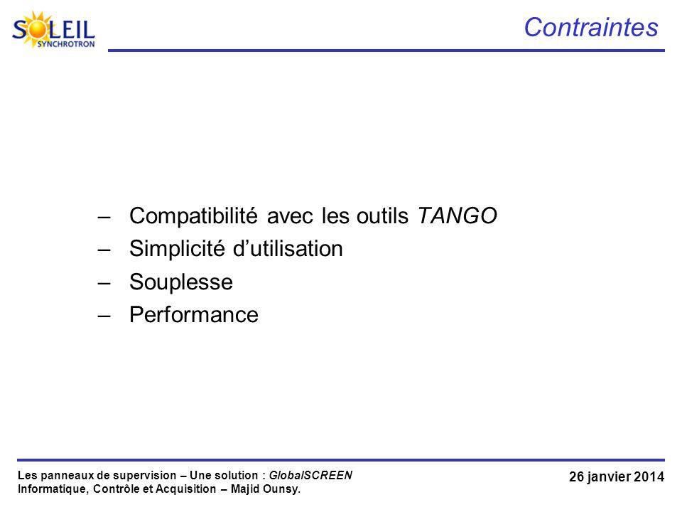Contraintes Compatibilité avec les outils TANGO