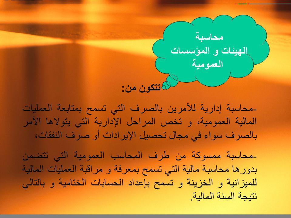 . محاسبة الهيئات و المؤسسات العمومية تتكون من: