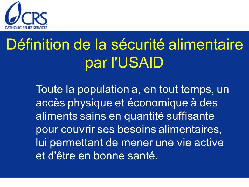 Définition de la sécurité alimentaire par l USAID