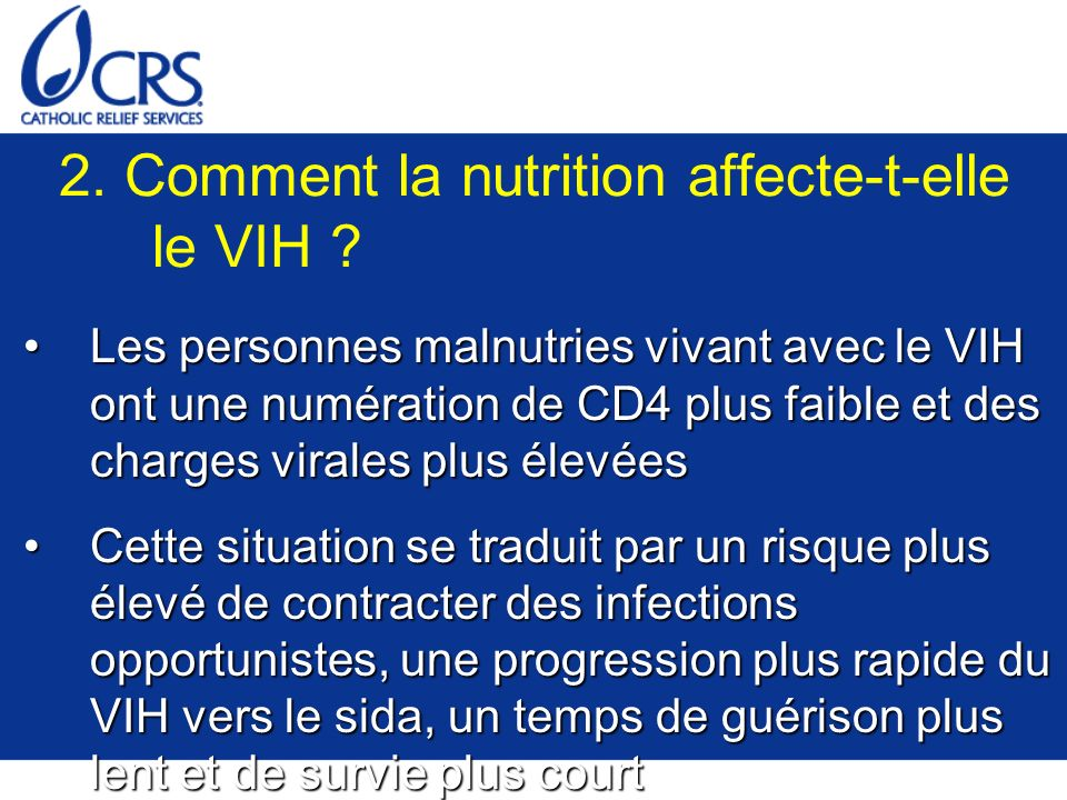 2. Comment la nutrition affecte-t-elle le VIH