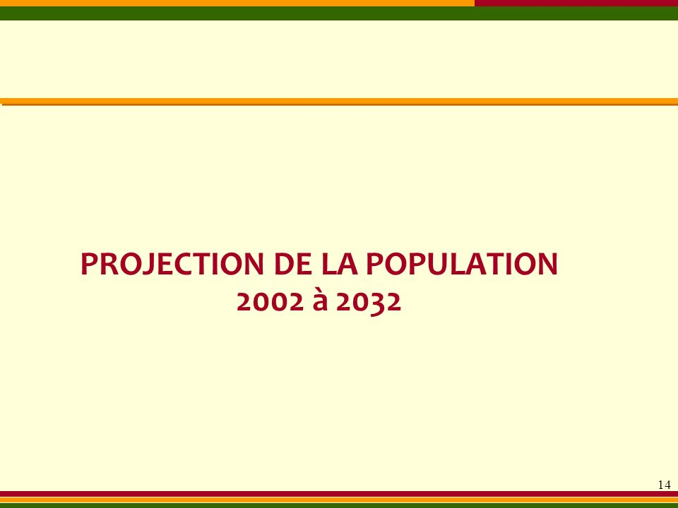 PROJECTION DE LA POPULATION