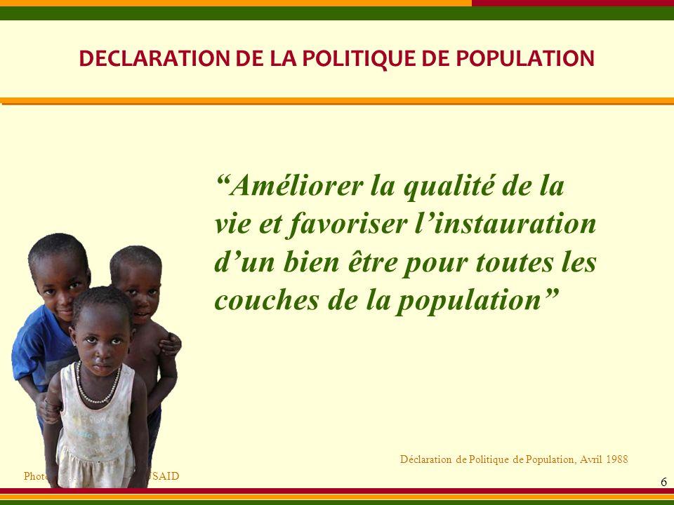 DECLARATION DE LA POLITIQUE DE POPULATION