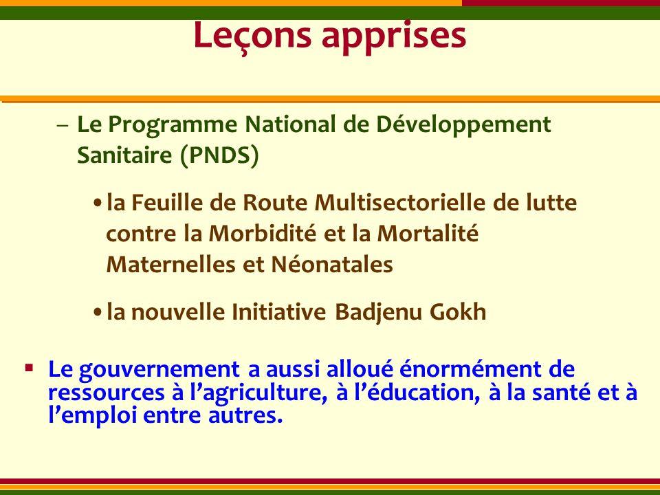 Leçons apprises Le Programme National de Développement Sanitaire (PNDS)
