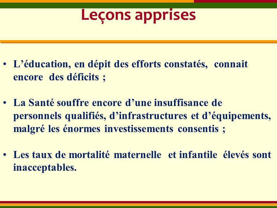 Leçons apprises L'éducation, en dépit des efforts constatés, connait encore des déficits ;