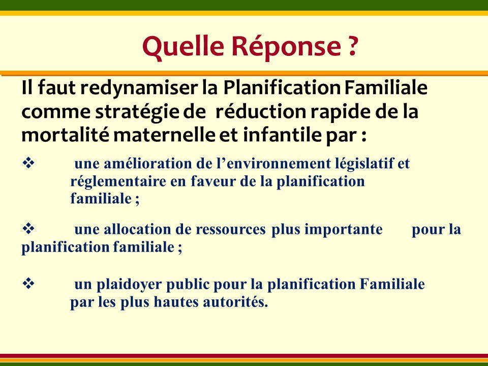 Quelle Réponse Il faut redynamiser la Planification Familiale comme stratégie de réduction rapide de la mortalité maternelle et infantile par :