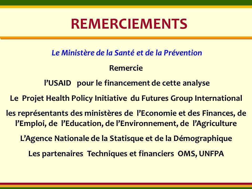 REMERCIEMENTS Le Ministère de la Santé et de la Prévention Remercie