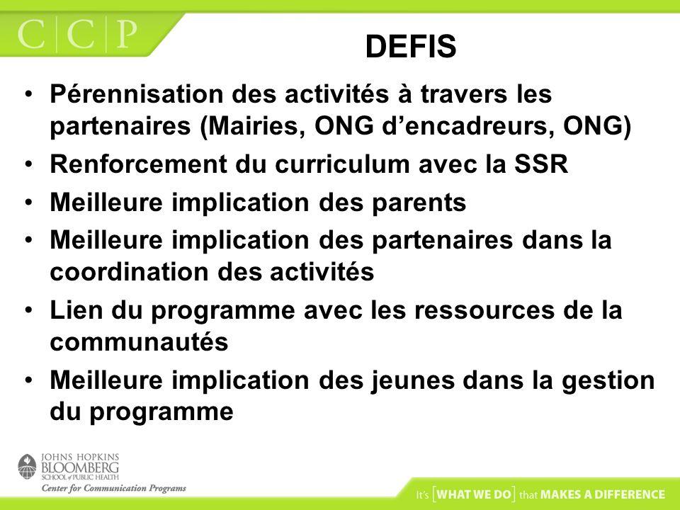 DEFIS Pérennisation des activités à travers les partenaires (Mairies, ONG d'encadreurs, ONG) Renforcement du curriculum avec la SSR.